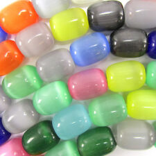 "13x16mm multicolor fiber optic cats eye barrel beads 7.5"" strand"