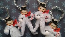 4 Vintage Style Snowmen with Candy Canes & Snowballs Gift Tags Chenille Oraments
