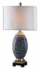 "Latah Blue Ceramic Table Lamp with Silver Details 31""H by Uttermost 26298-1"