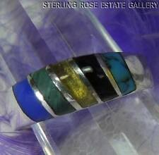VINTAGE TURQUOISE ONYX LAPIS Sterling Silver 0.925 Estate Band RING size 7