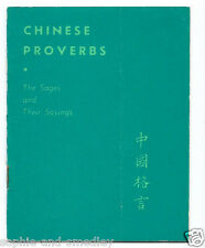 1944 Pocket Book - CHINESE PROVERBS, Sages - H.T. Morgan, Quon-Quon Company