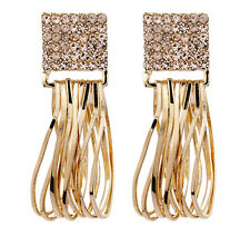 CLIP ON EARRINGS - gold plated with light pink crystals & gold hoops - Bria P