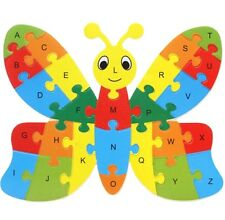 FD3451 Wooden Blocks Kid Child Educational Alphabet Puzzle Jigsaw Toy ~Butterfly
