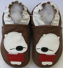 carozoo sleepy bear brown 0-6m soft sole leather baby shoes