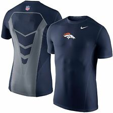 New Nike NFL Denver Broncos Mens Hypercool Fitted Training Shirt Blue - S Small