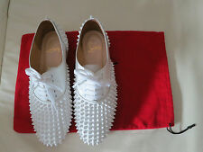 Christian Louboutin Fred Spikes White Patent Oxford Loafers Flats Sz 38.5 7.5