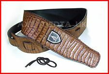 EMBOSSED CROCODILE SKIN PATTERN PU LEATHER GUITAR STRAP