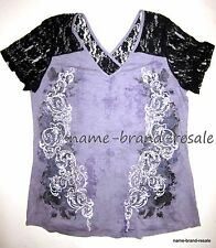 MAURICES NWT Purple Studded Shirt Womens PLUS 1X 14 16 Black Lace Sleeves NEW