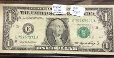 One Dollar Note With Repeating Serial Number