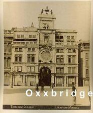 VINTAGE CLOCK HOROLOGY Watch Albumen Photo 1880 Chronos Sun Dial Venice Italy