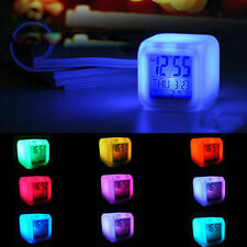 LED Color Changing Digital Alarm Calendar Thermometer Snooze Time Clock