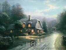 Moonlight Lane I - Cottage, English Countryside - Thomas Kinkade Dealer Postcard