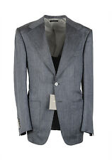 New TOM FORD Wetherby Silver Suit Size 48 / 38R U.S. Wool Mulberry Silk Linen...
