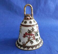 Asian Decorative Cloisonne Enamel Brass Bell Flowers 3 Inches Finger Handle