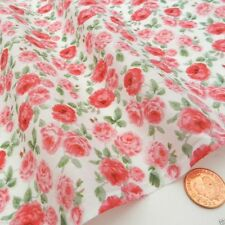 "per metre RAMBLING ROSE  polycotton fabric width 44"" pink & green on ivory"