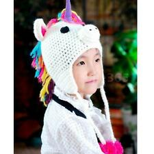 Kids Baby Boys Girls Cartoon Unicorn Knit Hat Crochet Cap Handmade Winter CP6J