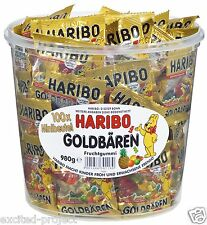 Haribo Gold Bears German Gummy Candy 100 Mini Bags In Big Tin - 980g / 34.56 oz