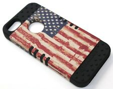 for iPhone SE 5 5s USA AMERICA FLAG Black Rubber Hybrid Protective Koolkase Case
