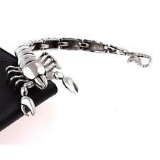 Cool men's silver stainless steel titanium scorpion animal bracelet jewelry SY3I