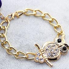 Retro-Eule Legierung Kristall Armband Kette Armreif Frauen Schmuck Geschenke
