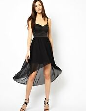 NEW RARE LONDON CUT OUT BACK HI LOW SEXY PARTY DRESS BLACK SHEER RRP £59 UK 12