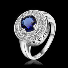 925 Sterling Silver Filled Rings Sapphire Womens Costume Jewelry Xmas Wholesale
