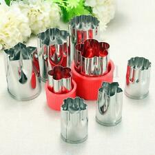 8pcs Stainless Steel Flower Shape Rice Fruit Vegetable Cake Cutter Mold Slicer