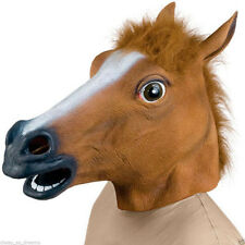 Horse Head Rubber Mask Fancy Evening Dress Party Cosplay Halloween Costume
