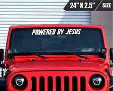 Powered By Jesus Windshield Banner Vinyl Decal Sticker Religious Fits Ford Jeep