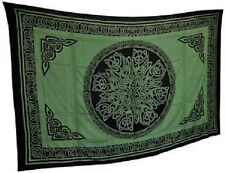 """Celtic Knot Green & Black Tapestry Blanket 72 x 108"""" Wiccan Pagan Altar WTKMGGB"""