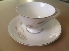 Vintage Fiesta Empress China Coffee Cup D Saucer Wheat Silver Trim ID# 916