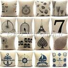 Vintage Nautical Cotton Linen Cushion Cover Throw Pillow Cases Home Sofa Square