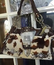 Brown Bling you Cow Hide Purse