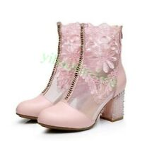 Sexy Womens Ankle Boots Lace Zip Block Heel Casual Hot Mesh Glitter Club Fashion