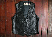 VTG SCHOTT SPORTSWEAR BLACK LEATHER MOTORCYCLE VEST JACKET WESTERN BIKER MEDIUM