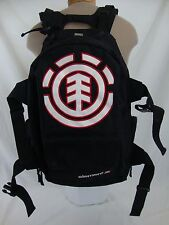 ELEMENT Mohave Black White Red Emblem Double Strap Skateboard Backpack Bookbag