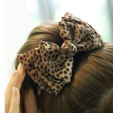 Fashion Women Lady Bow Leopard Hair Comb Head Clip HairPin Hair Accessories