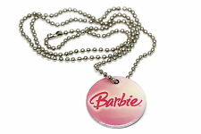 BRACCIALE MATTEL BARBIE PINK ROUND TAG CHAIN FASHION NECKLACE