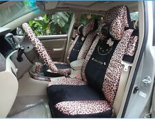 ** 18 Piece Black Leopard Hello Kitty Car Seat Covers **