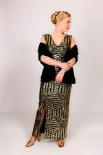 Stunning black & gold sequin art deco evening dress gatsby cocktail dress