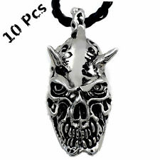 Wholesale 10 Pcs Demon Devil Skull Biker Men Boy Silver Tone Pendant Necklace