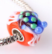 1pcs SILVER MURANO GLASS BEAD LAMPWORK Animal fit European Charm Bracelet ZZ295