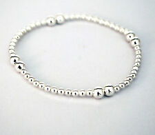 Sterling Silver Stretch Bracelet Beaded with Silver Balls - 7""