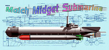 Build model boat 4 R/c German Molch Midget Submarine full size Printed PLANS