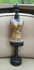 "Vintage Paper Mache Dress Form on Wooden Pedestal with Wooden Finial 22"" Tall"