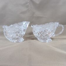 Gorham Holiday Traditions Crystal Sleigh Sugar Creamer Set Frosted Holly Band