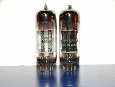 2 x 12BH7A Sylvania Tubes*Black Plates*D-Getter*1955*Very Strong & Bal Matched*