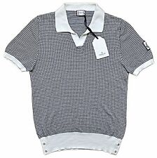 MONCLER GAMME BLEU Knit Houndstooth Sweater Polo MEDIUM ITALY $670