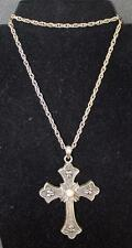 "Vintage 1975 SARAH COV Limited Edition Goldtone CROSS Pendant on 24"" Chain"