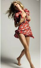 Vintage Kate Moss Red Poppy Floral Wrap Tea Dress Topshop UK 6 2 32/34